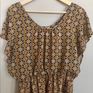 BarIII—Goldenrod and Black Geometric Print Dress—L